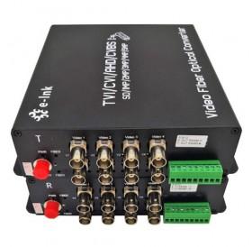 Комплект приемник и предавател за пренос на 8 видеосигнала по оптичен кабел singlemode до 20 км HD-AHD-8V1D-T/RF