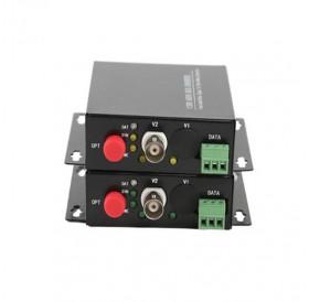 Комплект приемник и предавател за пренос на 1 видеосигнал по оптичен кабел singlemode до 20 км HD-AHD-1V1D-T/RF
