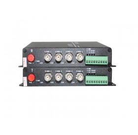 Комплект приемник и предавател за пренос на 4 видеосигнала по оптичен кабел singlemode до 20 км HD-AHD-4V1D-T/RF