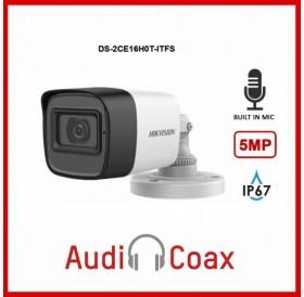 Влагозащитена 5MPx HD-TVI камера за видеонаблюдение с вграден микрофон