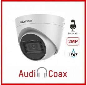 2MPx HD-TVI куполна камера за видеонаблюдение с вграден микрофон